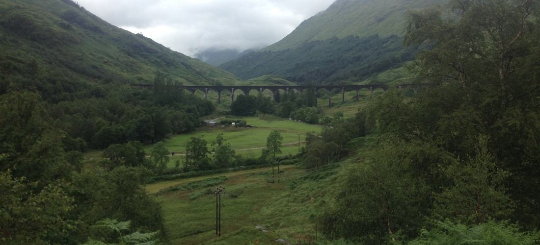 Mountains intersecting behind the Glenfinnan Viaduct, or more commonly known as the Hogwarts Express bridge.